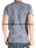T-shirt rond de Mens de collet de mode d'effet d'été particulier ordinaire de vente en gros