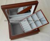 Brown Matte Finish Wood Jewelry Storage Case