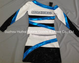 Uniforme brillant métallique de Cheerleading avec des Rhinestones