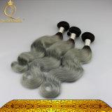 Cabelo do Weave do corpo de Non-Remy da cor de Ombre #1b/Grey