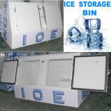 얼음 로고를 가진 기울어지는 얼음 저장통