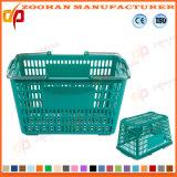 Panier à provisions en plastique de supermarché de bonne qualité avec la main en acier (Zhb176)