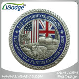 Brass Stamped Challenge Coin with Enamel Antique Finish