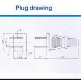 Câble d'alimentation AC de chevilles de l'Américain 2 avec l'UL certifiée (JT-2)