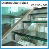 8 milímetro + 1.52 PVB + 8 milímetros de vidrio laminado templado para la ventana, escalera