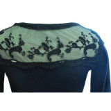 R-Neck Pullover Knitting Sweater con Lace