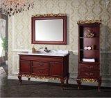 Tradtional festes Holz-Badezimmer-Eitelkeit 2017 mit doppeltem Behälter-Wannen-Fußboden - eingehangene Marmoroberseite Asv1034
