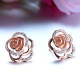 Серьги стержня способа золота Rose женщин шикарные Rose-Форменный