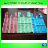 Sacs à provisions en plastique rayés avec le traitement