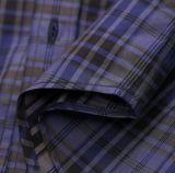 Рубашка людей Оксфорд проверки самых последних длинних втулок пурпуровая