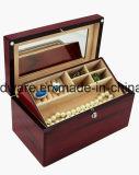 Boîte-cadeau en bois de bijou de fini de piano de bois de rose avec le plateau