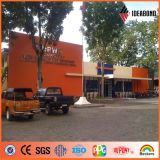 IDEABOND fábrica 4ftx8ft exterior PVDF Panel Naranja Pintura Revestimiento