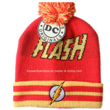China Factory Customized Cartoon Design Acrílico Knit Jacquard Warm Fold Beanie Hat