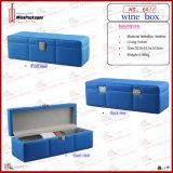 Caixa de presente de couro feita sob encomenda azul luxuosa por atacado do vinho (6411R1)