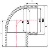 Krümmer der 10inch 12inch Sch80 CPVC Rohrfitting-90degree