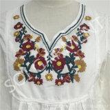 女性新しいレーヨン刺繍のパフ・スリーブのブラウス(DR-120)
