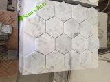 """Telha do mosaico do assoalho hexágono do mármore branco 3 de Carrara do """""""