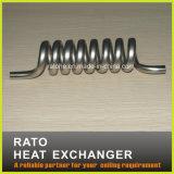 Aço inoxidável e câmara de ar espiral do cobre no cambista de calor