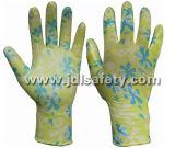 Gant de travail tricoté par polyester avec le plongement sans heurt de nitriles (N1561)