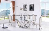 Jogo de vidro da tabela de jantar da tabela do casamento da base do aço inoxidável do projeto do espelho