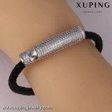 Bangle-81jewelry FormRhodium überzogenes Zircon-Schwarz-Leder-Armband
