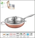 Tre volte Cookware cinese dell'articolo da cucina del Wok del corpo