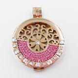 le plus défunt Locket de modèle avec les pierres cubiques d'en demi-cercle pour le bijou de cadeau