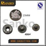 Botón colorido especial del metal en engrasar y grabado