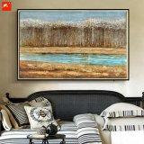 Peinture à l'huile fabriquée à la main d'illustration de mur de forêts de rive pour le décor