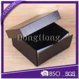 Costume preto luxuoso caixa de presente de papel rígida de 2 partes com base dobrável do estilo