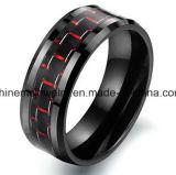Anello del tungsteno della fibra del carbonio del nero dei monili di Shineme (TST2827)