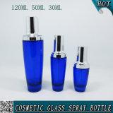serie cosmética de cristal vacía azul de la botella de 120ml 50ml 30ml con la bomba