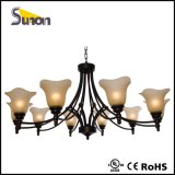 6 candelabros tradicionais leves, iluminação preta antiga do pendente do ferro