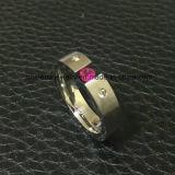 Anello tagliato collegare all'ingrosso dell'acciaio inossidabile dei monili del corpo (CZR2589)
