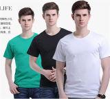 Redonda de la manera de los hombres de cuello del color sólido de las camisetas de algodón (46780)