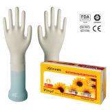 La polvere a gettare dei guanti del vinile del polsino normale o la polvere libera