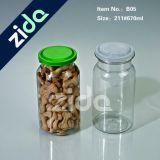O plástico redondo barato da tampa aberta fácil da lata pode/frasco/frasco para o frasco do plástico da embalagem do alimento/doces