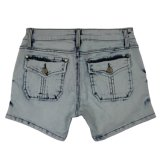 Ladeis Popular & lavaggio piacevole all'ingrosso brevi jeans (MY-033)