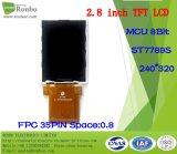 """2.8 """" 240*320 MCU 8bit TFT LCD Bildschirmanzeige, IS: Ili9341V, FPC 37pin für Position, Türklingel, medizinisch, Autos"""