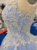 Aoliweiya Illusion Appliques Ball Gown Prom Dress