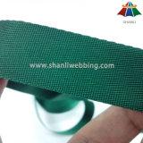 23mmの軽量の小さいあや織り織り方は深緑色ポリエステルウェビングテープを並べる