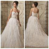 Vestido de casamento estratificado Tb127 de Tulle do laço nupcial Strapless dos vestidos de esfera