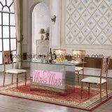 새로운 디자인 색깔 빛 스테인리스 테이블 및 의자