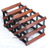 Il legno ed il metallo hanno galvanizzato le strette d'attaccatura d'acciaio del supporto della cremagliera della bottiglia di vino 10 bottiglie
