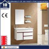 Unidade ereta do gabinete de banheiro do assoalho branco elevado do lustro com diodo emissor de luz