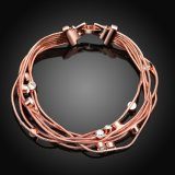 Form-umweltfreundliche Rosen-Goldarmband-Kristallform-hängender Charme Bracelet Mehrebenenfrauen-Armband