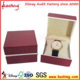 Rectángulo de reloj de papel clásico impreso insignia de encargo de gama alta barata al por menor del papel del regalo con la almohadilla, cajas de reloj para el solo reloj