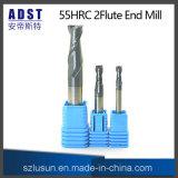 taglierina del laminatoio di estremità dell'acciaio di tungsteno di 55HRC 2flute per la macchina di CNC
