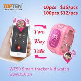 SosボタンWt50-Ezとの子供の反誘拐のためのGPSの腕時計の追跡者