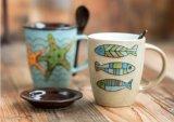 De beste Verkopende Koppen van de Thee van het Ontwerp van Kerstmis van Punten Ceramische met de Druk van de Sneeuwman